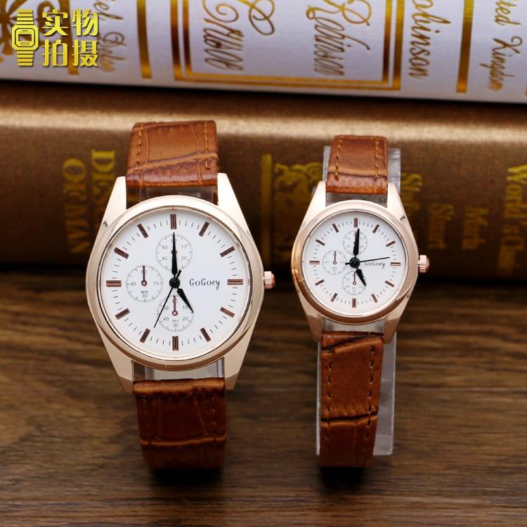Hot Sales Gogoey Brand Pair Watches Men Women Lovers Fashion Crystal Dress Quartz Wristwatches Clock 6699