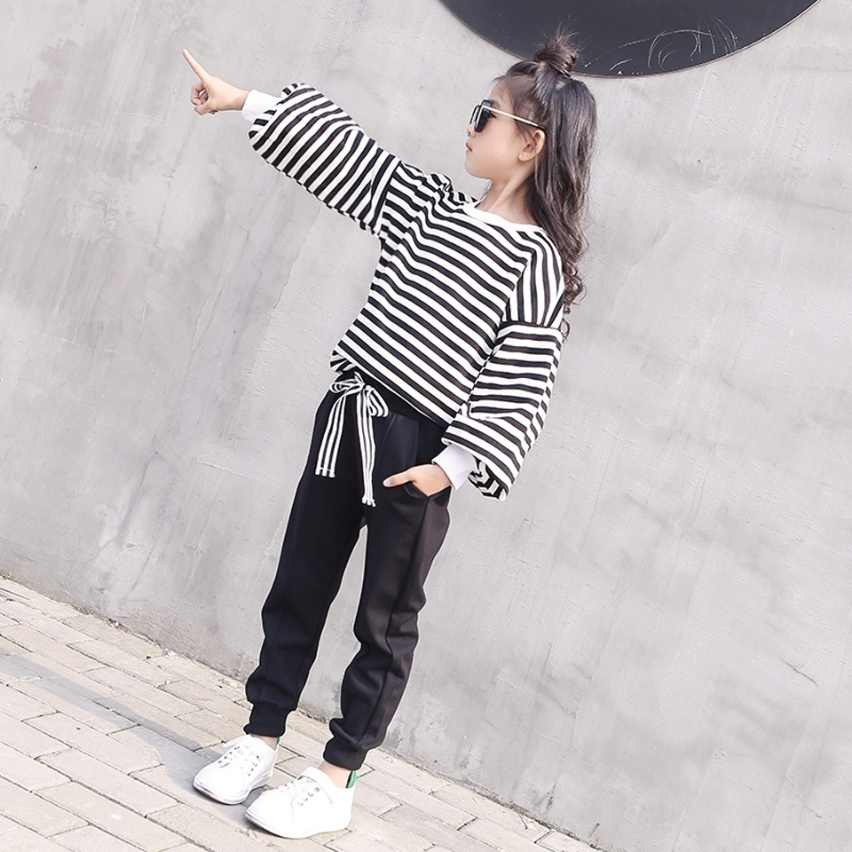 Girls Clothes Set Teenage Striped Shirt + Black Pants 2 PCS Kids Tracksuits Autumn Spring Kids Clothes For Girls 6 8 10 12 Year baby girl summer clothes 2018 kids girls clothes set two pcs t shirt striped shirt 5 6 8 10 12 year girls boutique outfits