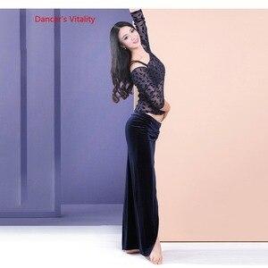 Image 2 - Womens 2 piece Set Oriental Dance Costume Double Color Contrast velvet Dress Bellydance Practice Wear On Sale