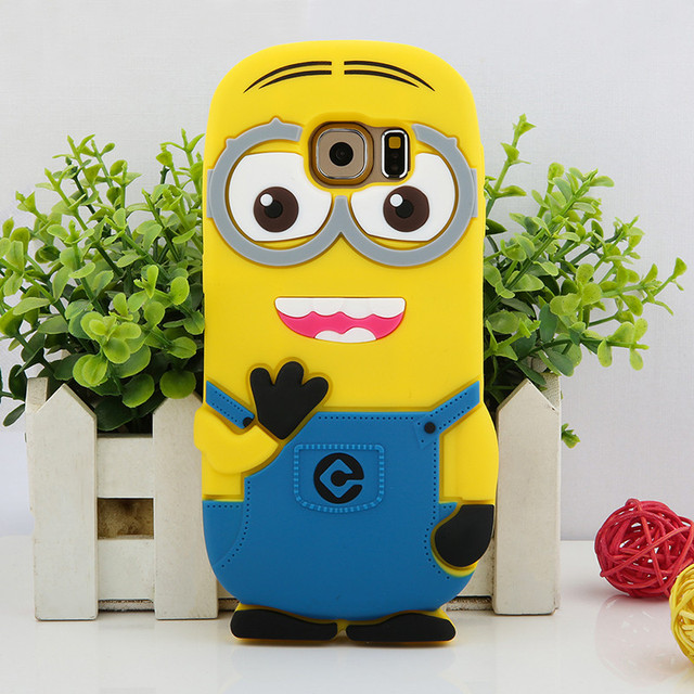sports shoes dac7e d6ea2 US $4.49  For Samsung Galaxy S6 S6 Edge 3D Cute Despicable Me Minions  Silicone Cases Back Cover For Samsung S6 Edge Plus Mobile Phone Case-in  Flip ...