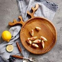 Деревенский деревянные тарелки творческий милый олень деревянные фруктовый десерт, отрезав лоток Посуда Тарелка деревянная посуда рождес...