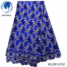 BEAUTIFICAL Blue cotton swiss voile latest design 2019 high qulity dry lace fabric african ML2R141