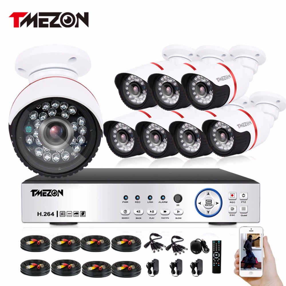 Tmezon AHD 8CH 1080P DVR CCTV 8Pcs 1080P 2.0MP Camera Home Security Surveillance CCTV System Outdoor Weatherproof Bullet Cam Kit zosi 1080p 8ch tvi dvr with 8x 1080p hd outdoor home security video surveillance camera system 2tb hard drive white