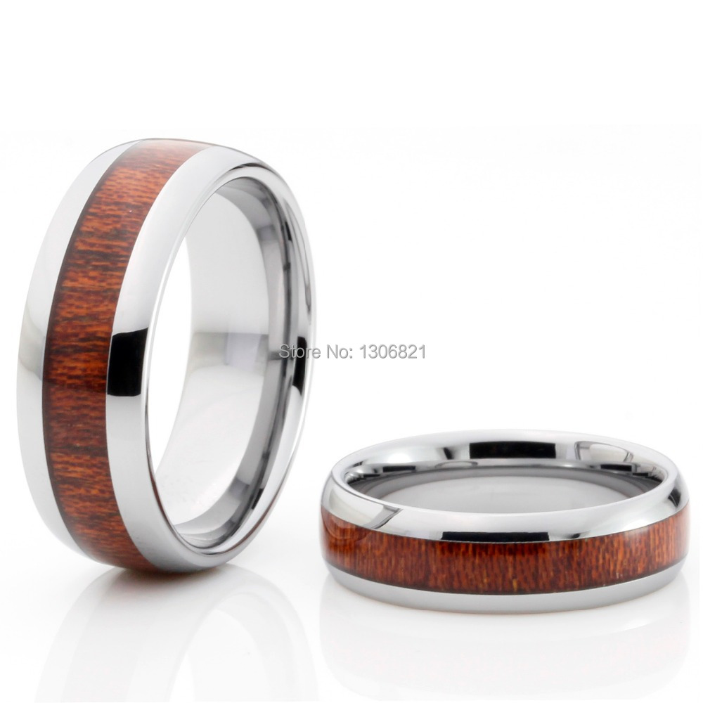 genuine mahogany wood inlay tungsten ring wooding ring