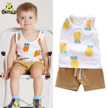 Boutique Kids Summer Clothes Vest Top+shorts Fashion Toddler Boy Cotton Print Infant Clothing Set Baby Girl Outfit 1 2 4years недорого