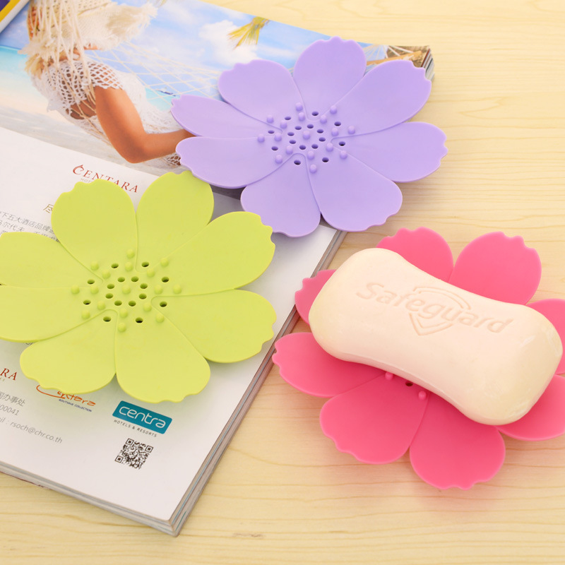 New Creative candy color solid Petal soap holder Drain flower bath box Bathroom  Accessories Soap Dish. Popular Flower Soap Dish Buy Cheap Flower Soap Dish lots from