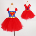 Superman Batgirl Girls Tutu Dress Cosplay Costumes Girl Kids Dress Knee Length Fluffy Birthday Halloween Party Girls Dresses
