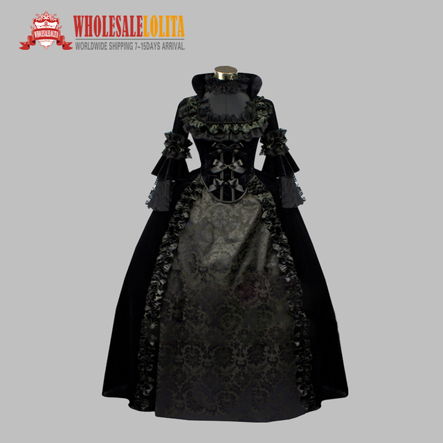 Deluxe Gothic Black Jacquard Pleuche Noble Victorian Era Vintage