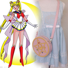 New Arrival Japan Anime Sailor Moon Cosplay Pink Bags Lady PU Leather Shoulders Messenger Bag