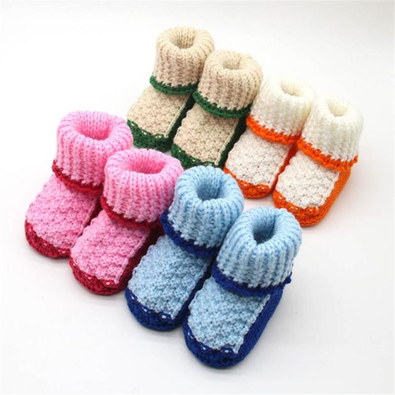 Sweet Shoes Toddler Newborn Baby Knitting Lace Crochet Shoes Buckle Handcraft Shoes Casual Style Winter Yarn Shoes F804