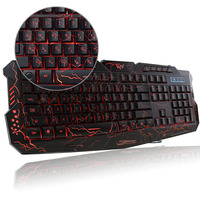 Russian English Gaming Keyboard 3 Backlight Modes Russia Version Keyboard USB Powered 19 Keys Conflict For