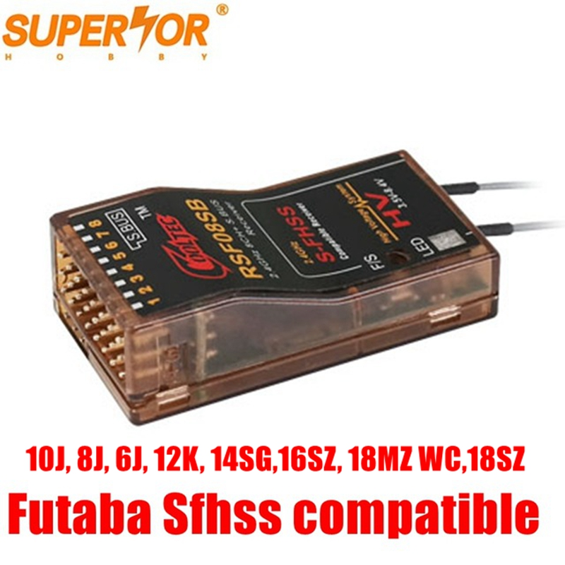 RSF08SB 8ch SBUS S-FHSS Compatible Cooltech Receiver Futaba 16SZ 18MZWC 18SZ, 10J, 8J, 6K, 6J, 14SG, Corona R6SF R4SF Delta 8