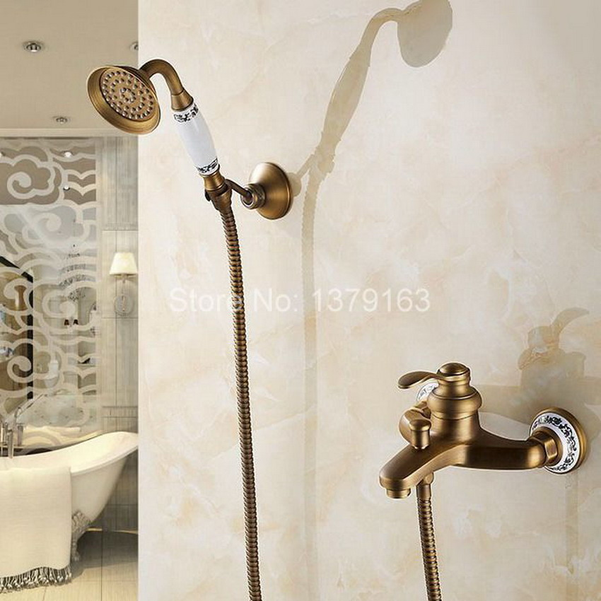 Wall-mount Single Handle Bath Shower Faucet With Ceramic Base Handshower Antique Brass Bathroom Shower Mixer Tap atf304 bathroom single handle bath shower mixer faucet wall mount 8 rainfall exposed shower mixer height adjustable antique brass