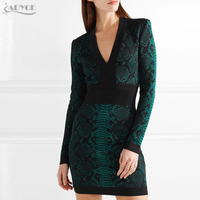Adyce 2019 стильная бандажная одежда платье Оранжевый Зеленый с длинным рукавом v образным вырезом знаменитости вечерние платье Для женщин обле