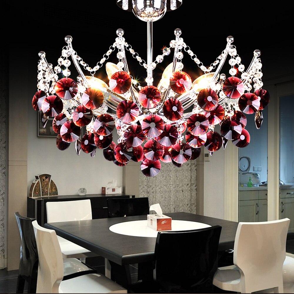 led e14 Modern Purple Black Crystal LED Lamp LED Light.Pendant Lights.Pendant Lamp.Pendant light For Dinning Room Foyer Bedroom