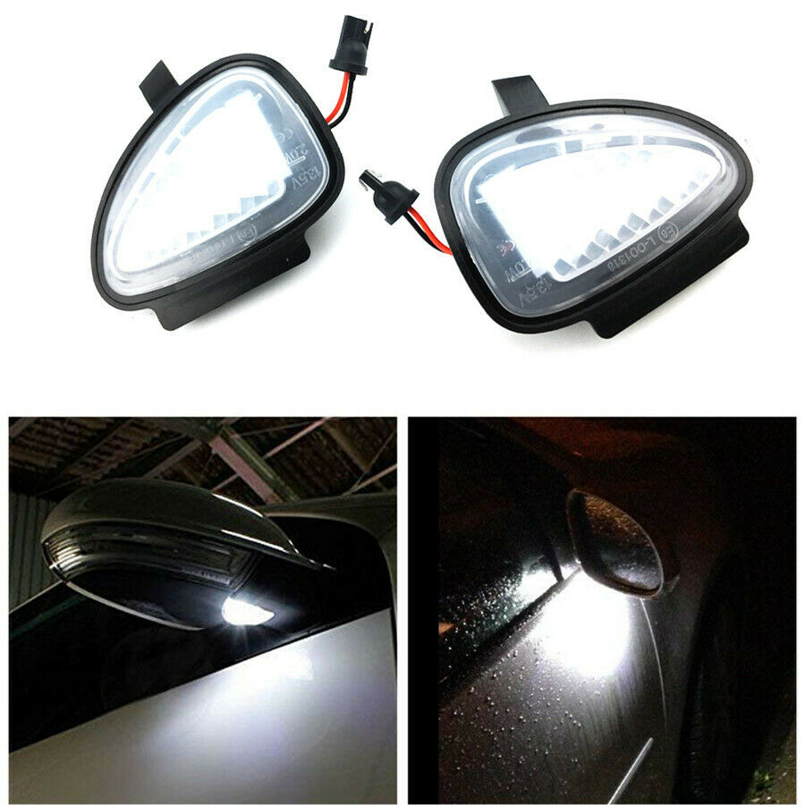 1Pair White Under <font><b>LED</b></font> Side Mirror Puddle <font><b>Lights</b></font> Direct Fit For VW <font><b>Golf</b></font> GTi MK6 6 MKVI 2010-2014 C45 <font><b>Golf</b></font> Cabriolet 2012-2015 2pc image