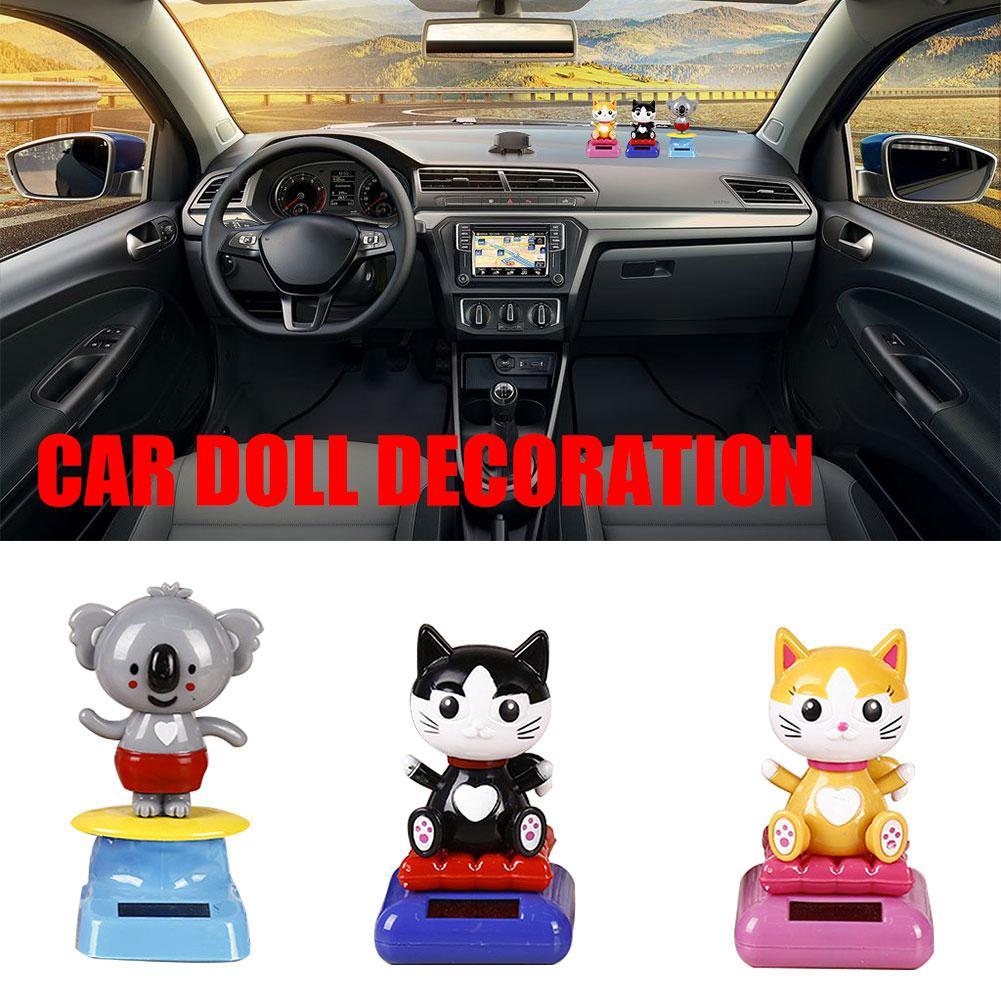 Cabeza temblorosa Solar gato de la suerte innovador coche de energía Solar decoración coche de dibujos animados muñeca coche Interior joyería regalo de Halloween