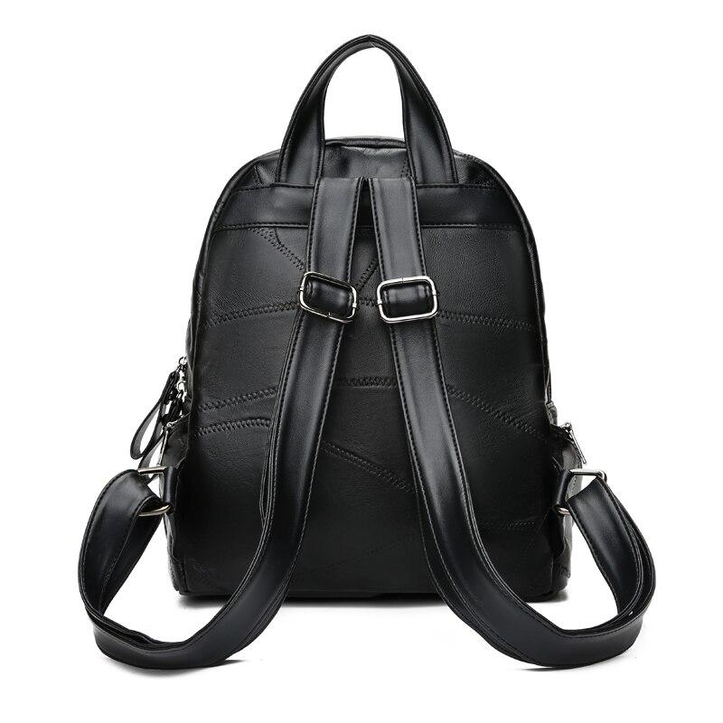 Shengxilu Sheepskin Women Backpacks Genuine Leather Female Rucksack New Large Capacity Travel Preppy Style Black Women Bags #4