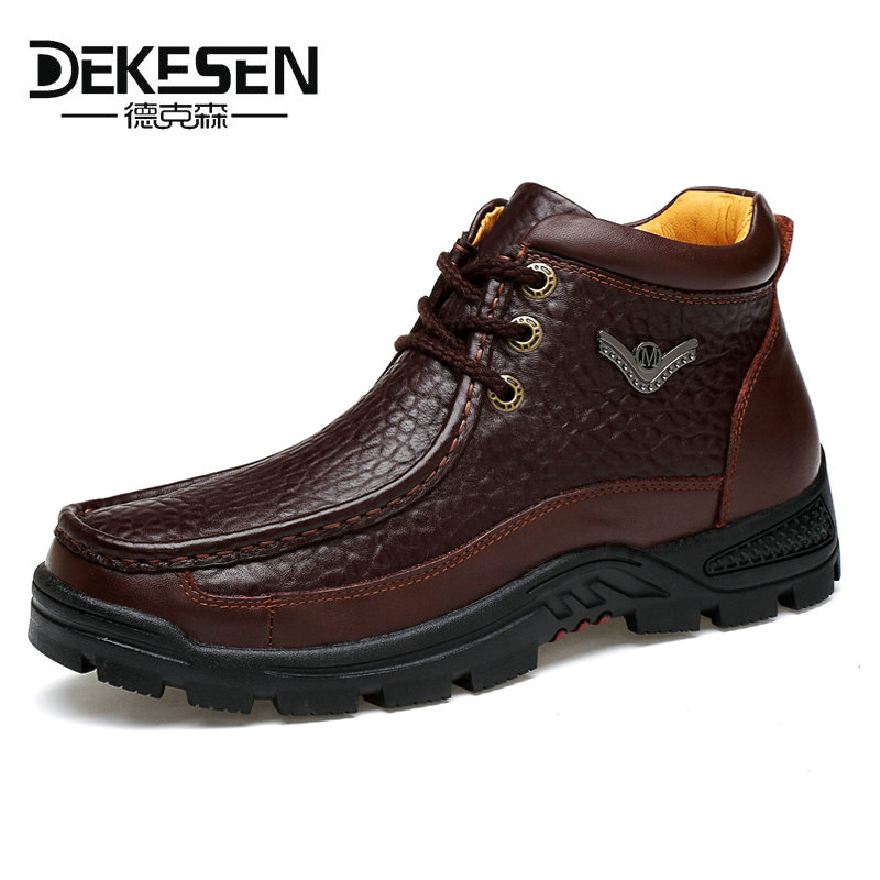 DEKESEN Fashion Crocodile Genuine Leather Mens Shoes Fur Ankle Boots Warm Winter Shoes Snow Mens Boot Lace Up Men Shoes Plus 2016 hot sale male snow boots genuine leather ankle suede snow boots winter shoes for men and women mens boot shoe 35 48