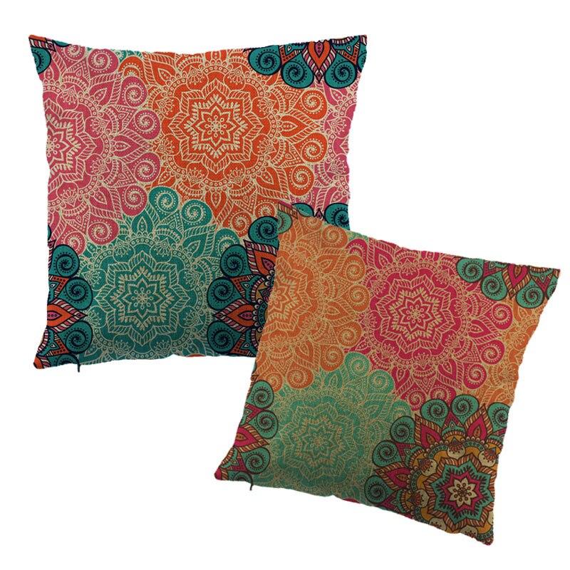 Funda de cojín decorativa de flores Impreso bordado de lino Algodón - Textiles para el hogar