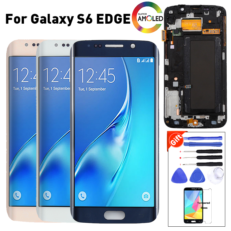 ORIGINAL 5,1 ''Super AMOLED pantalla para SAMSUNG Galaxy s6 edge LCD G925 G925I G925F digitalizador de pantalla táctil con marco + herramientas