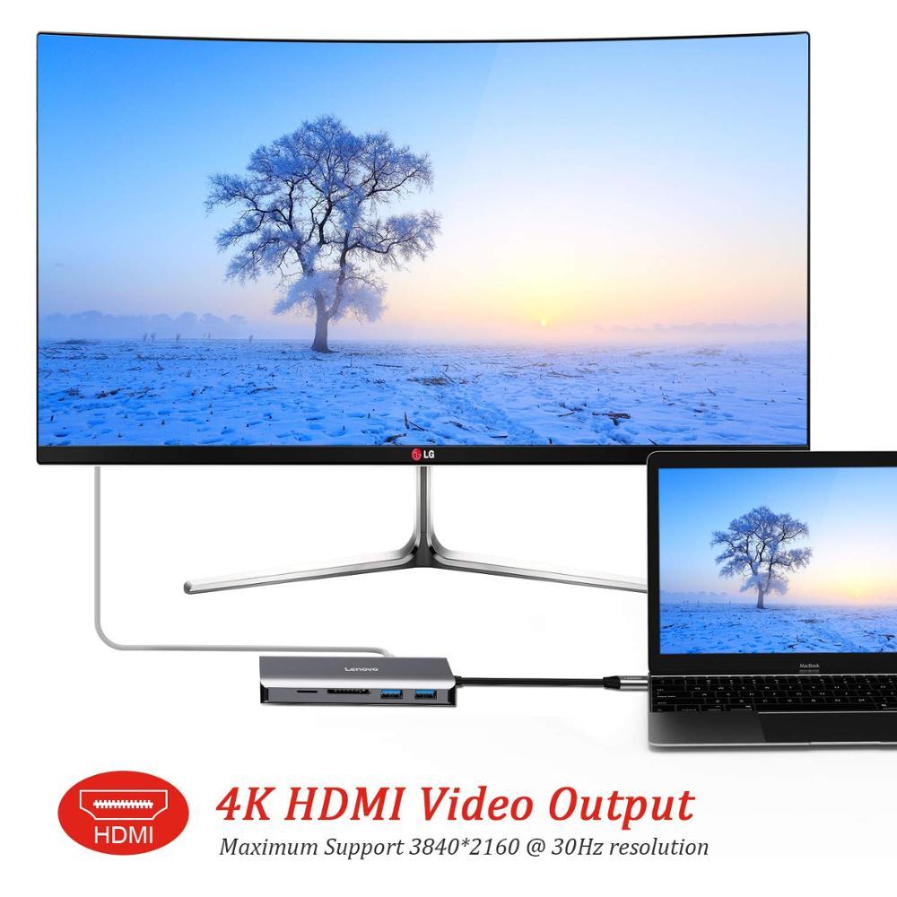 11 En 1 USB C a HDMI 4 K RJ45 LAN Ethernet USB 3,0 para MacBook Pro Xiaomi Asus ordenador portátil Lenovo Huawei Mate 10 Tipo C - 4