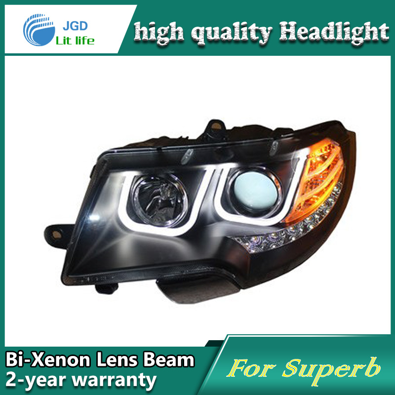 Car Styling Head Lamp case for Skoda Superb 2009-2013 Headlights LED Headlight DRL Lens Double Beam Bi-Xenon HID Accessories isincer car headlight lens for bmw f30 headlamp cover case shell lamp assembly f30 f31 2013 2016 car styling accessary