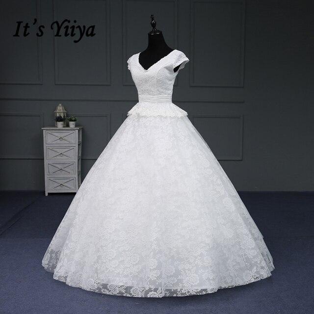Online Shop It S Yiiya Hot Wedding Gowns Short V Neck Appliques