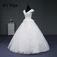It's YiiYa Hot Wedding Gowns Short V-Neck Appliques Embroidery Lace Flower Floor-Length Lace Up Frock Romantic Sexy Images IY177