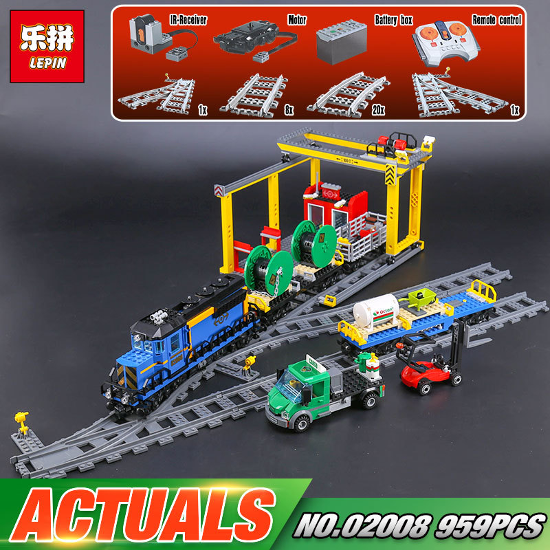 Lepin 02008 The Cargo Train 959Pcs City Series LegoINGly 60052 Plate Sets Building Nano Blocks Bricks Toys For Boy Gift lepin 15008 2462pcs city street green grocer legoingly model sets 10185 building nano blocks bricks toys for kids boys