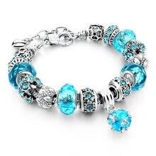 Gift!!! 925 Silver Heart Charm Bracelets & Bangles Crystal&Glass Beads Bracelets For Women Pulsera DIY Jewellery SBR160010