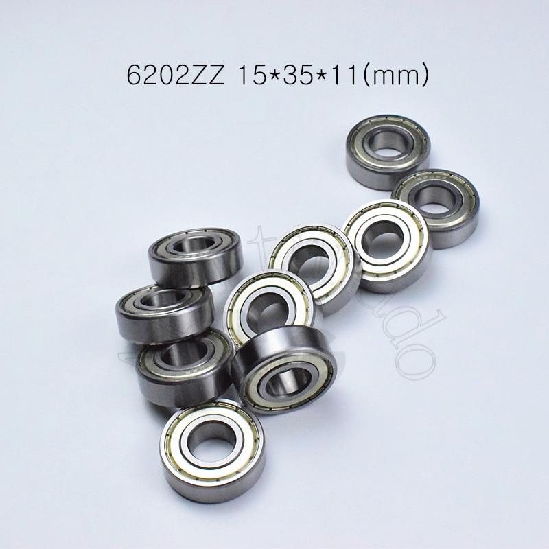 6202ZZ 15*35*11(mm) 10pieces Free Shipping Bearing ABEC-5  10Piece Metal Sealing Bearings 6202 6202Z 6202ZZ Chrome Steel Bearing