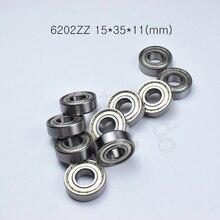 Rodamientos de sellado de metal 6202ZZ, 15x35x11(mm), 10 piezas, envío gratis, rodamiento de ABEC 5, 10 piezas, 6202Z 6202ZZ 6202, rodamiento de acero cromado