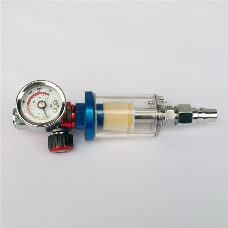 Free shipping Scratch Spray Gun Air Regulator Gauge & In-line Water Trap Filter Tool free shipping g1 ports air filter regulator model aw5000 10 with pressure gauge 5pcs in lot high flow rate in stock