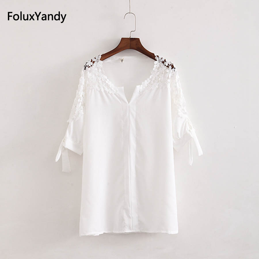 V-neck Lace Blouse Women Plus Size Casual Summer Three Quarter Sleeve Blouse Shirt Black White KKFY1670