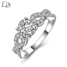 Fashion AAA rhinestone jewelry wedding engagement rings for women sterling silver 925 jewelry vintage bague for lady DD099
