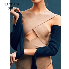 2017 BANDAGE High Quality Knitted Solid Cross Hollow Out Bodysuit One Piece Rayon Sexy Bandage Bodysuits Wholesale HL J144