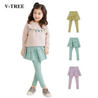 V-TREE Girls Leggings Candy Color Skirt Pants For Girls Cotton Children Pants Teenage Legging With Skirt