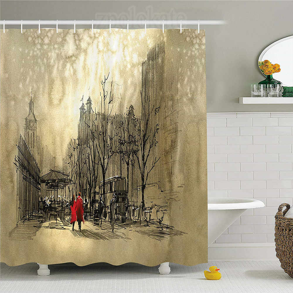 Apartment Decor Shower Curtain Couple Walking in City ... on water bathroom design, black and white bathroom design, beach bathroom design, faith bathroom design, under the sea bathroom design, home bathroom design, arts and crafts bathroom design, classic bathroom design,