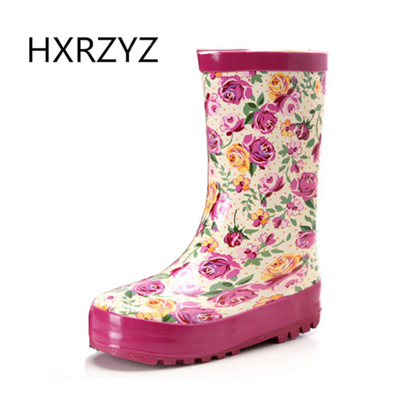 HXRZYZ rubber rain boots women printing ankle boots spring/autumn ladies hot new fashion slip-resistant waterproof women's shoes new spring autumn rain boot woman ankle boots sexy women rain boots