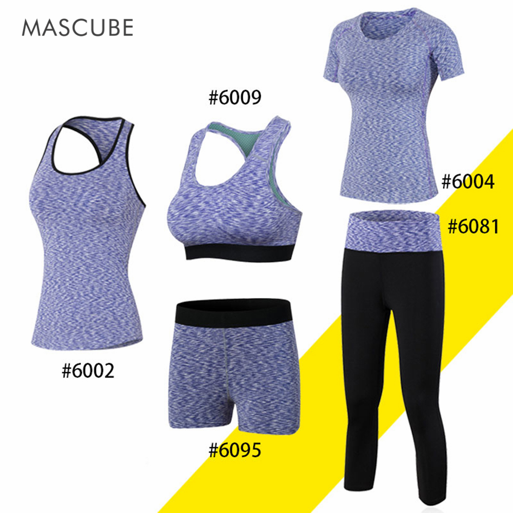 MASCUBE Women Fitness Gym Yoga Set Vest Quick Dry T-Shirt Casual Shorts Bodybuilding Bra Running Set Sportshirt Slim Legging