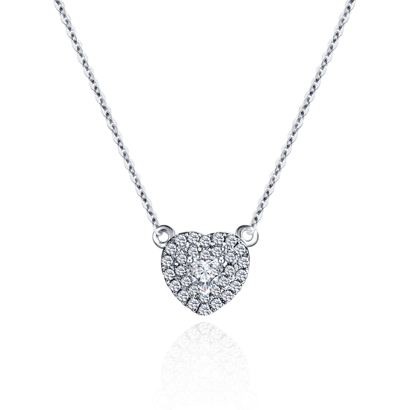 18 k or diamant collier platine personnalisé coeur forme ensemble diamant chaîne de chaîne or Rose véritable personnalisé