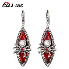 KISS ME Earrings for Women New Design Red Resin Imitation Pearl Spider Dangle Earrings Vintage Jewelry(China)