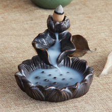 Buddhism Decoration Ceramic Backflow Incense Holder Burner Decor Censer Aroma Stick Wooden A