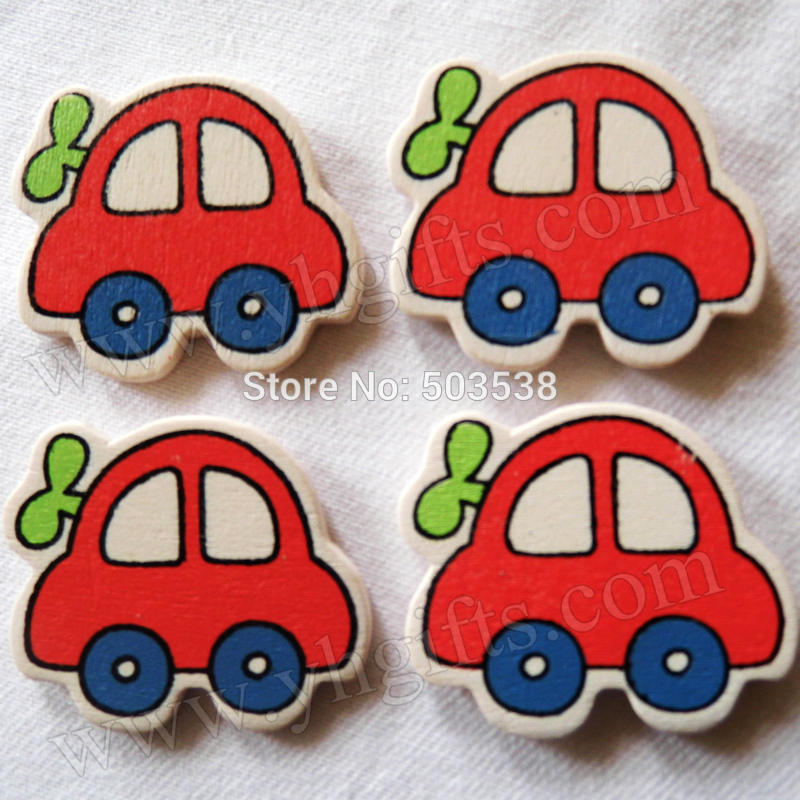 500PCS/LOT.Wood car stickers,3x3.4cm.Kids toys,scrapbooking kit,Early educational DIY.Kindergarten crafts.Classic toys
