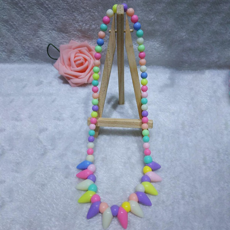 1Pc Korean Style Children Acrylic Necklace Kids Girls Gift Wholesale Lovely Girl Bead Necklace Fashion Jewelry