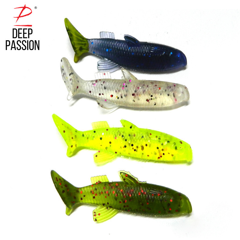 DEEP PASSION 10PC Fishing Lure Kit Soft Bait Belly Chest Open Fork Tail Simulation Fish Bite Artificial Bait Fly Fishing Tackle