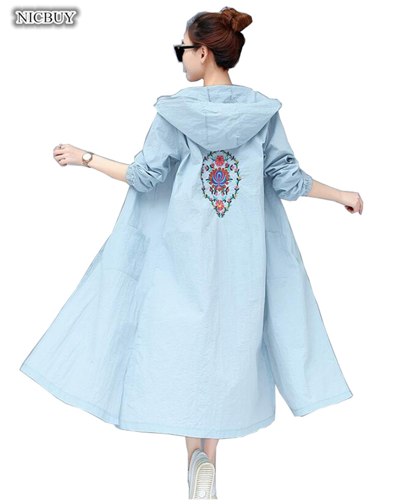 Spring and summer womens hooded sun protection clothing fashion long national wind coat windbreaker embroidery trench