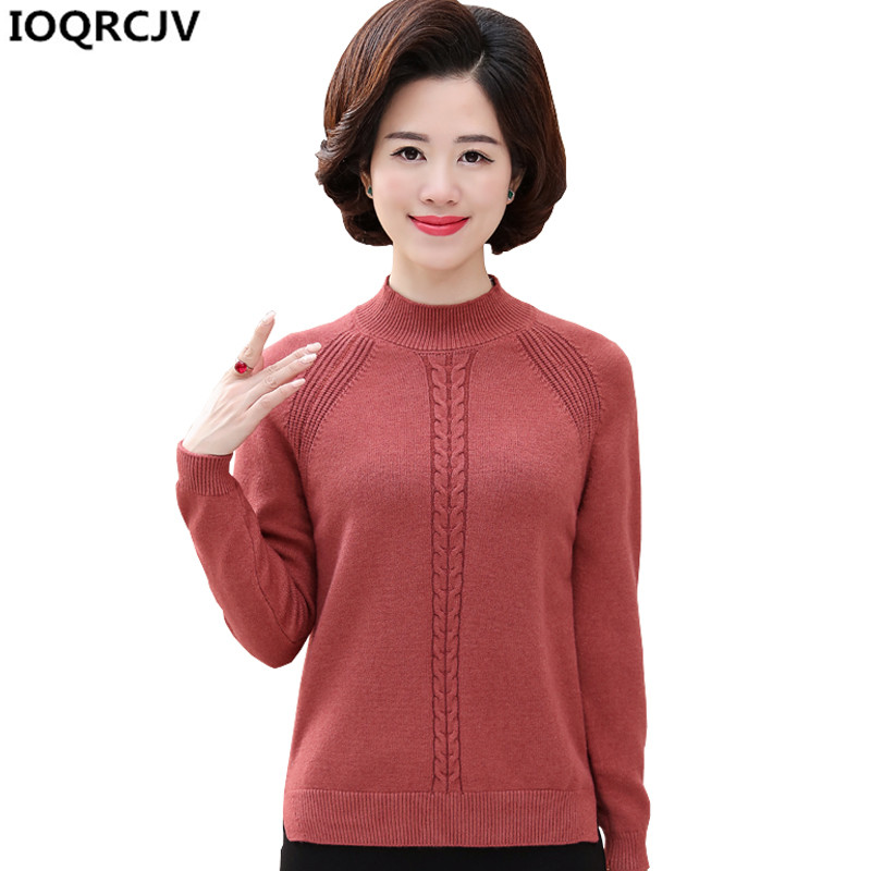 IOQRCJV Women Sweater Winter Pullover thick Knitted Sweater Top Autumn Female Oversized Middle-aged Short Knit Sweater Women 792