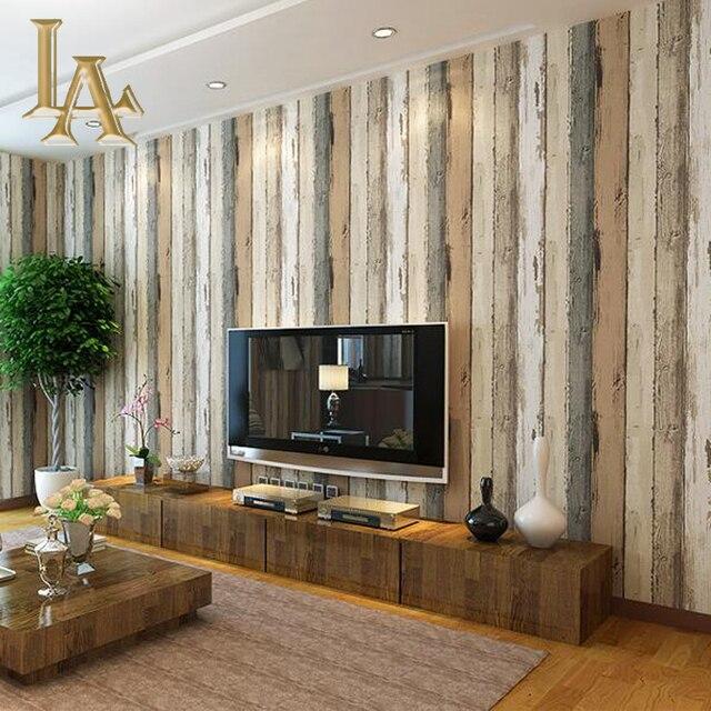 Mediterania Vintage Bertekstur Kayu Bergaris Wallpaper R Tidur Ruang Tamu Sofa Dekorasi Rumah Dinding